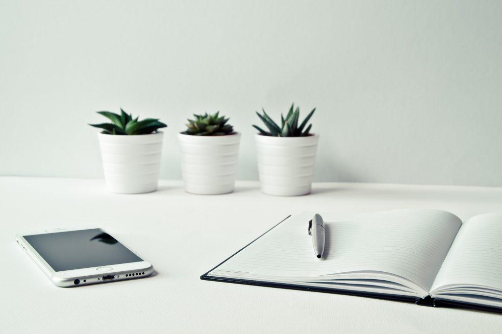 weißer Schreibtisch mit offenem Buch, Handy und drei Pflanzen